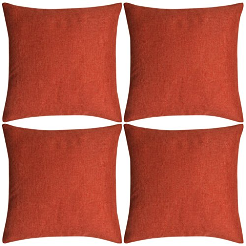 Festnight Fabric Linen Cushion Covers Pack of 4 Throw Pillow Case for Home Decor 50 x 50 cm (Terracotta)