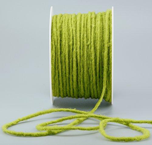 Wollkordel APFELGRÜN 80 m x 4 mm (0,25€/m) Wolldocht 4 mm Grün Kordel 100% Wolle Dekoband Schleifenband Geschenkband Filzkordel Wollschnur Wollband Bastelwolle