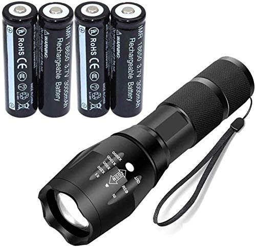 Ultra Bright Powerful LED Flashlight 5 Modes Waterproof Handheld Zoomable Torch with 4X18650 Battery Kit 668