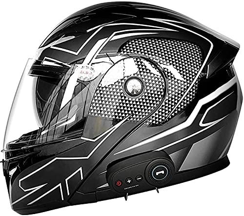 Casco de motocicleta Bluetooth, sistema de comunicación integrado incorporado de la cara completa. Cascos modulares Flip Up Up Off-Road Casco con visores duales, radio FM / Smart Music Dot Certified,