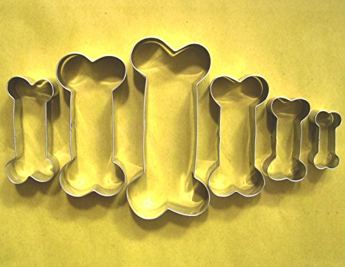 LAWMAN 6 size Dog Bone Cookie Cutter Fondant Pastry Baking Stainless Steel Set