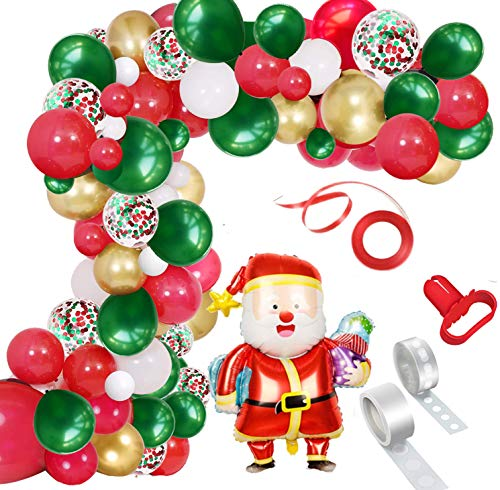 Merry Christmas Balloon Arch Garland Kit, 115 Pieces Green Red White Gold Confetti Balloons with Santa Claus Mylar Balloon for Christmas Party Decorations New Year Baby Shower Birthday Party Supplies