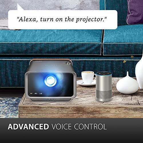 ViewSonic X10-4K Proyector SMART LED UHD portátil de corto alcance para juegos, entretenimiento familiar y doméstico con Wi-Fi Bluetooth y audio Harman Kardon - Carbón metálico