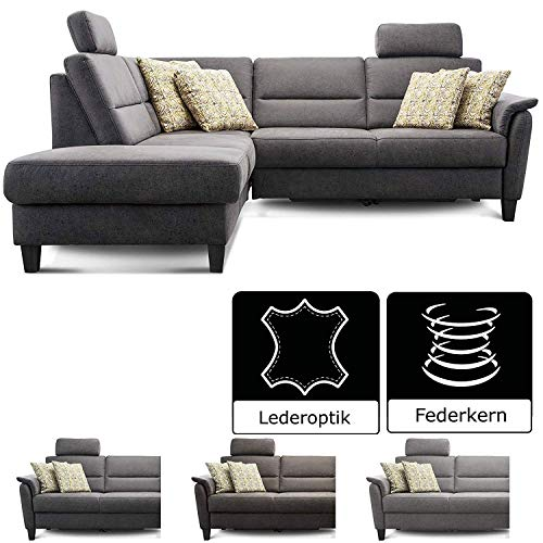 Cavadore Ecksofa Palera mit Federkern / L-Form Sofa mit Ottomanen links / 236 x 89 x 212 / Büffellederoptik Dunkelgrau
