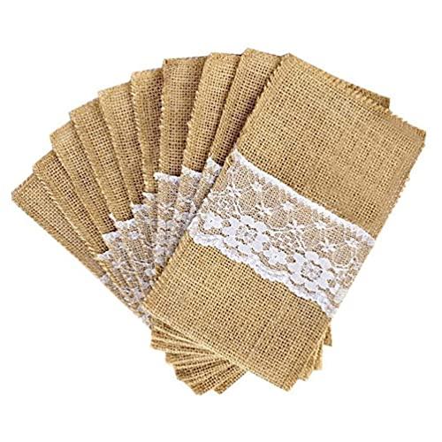 Toyvian 10 bolsas de yute de 21 x 11 cm, para cubiertos de encaje, para bodas, fiestas, decoraciones de vajilla, bolsas (blanco y marrón claro)