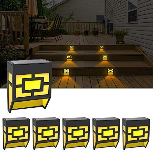 Solar Lights Outdoor, Outdoor Decorative Waterproof LED Fence Lights Solar Deck Powered Step Lights for Front Door,Back Yard,Railing,Warm/Color Changing 6 Pack Christmas Lights