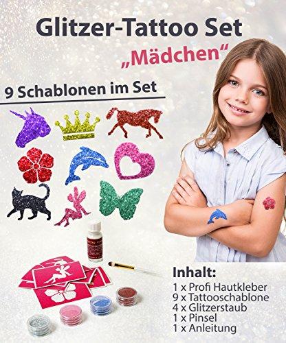 Glitzer Tattoo Set Mädchen mit Profikleber, 1x Pinsel, 4x Glitzer, 9x Tattooschablonen
