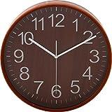 不二貿易プライウッド掛時計 Φ28cm BR ブラウン 85367 1個 不二貿易