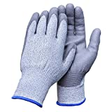 Aituo 1 Pair Pu Coated Cut Resistant Gloves Safety Protective En388 Cut Level 5 Protection, Anti-slash Kitchen or Industry Cut Safe Work Gloves (Meidum-Blue) by Aituo