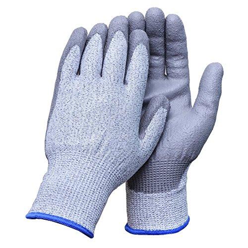 Aituo Schnittschutzhandschuhe, Sicherheitsstandard EN388, Level 5-Schutz, schnittsicher für die Küche oder als industrielle Arbeitshandschuhe, 1 Paar, Larger-Grey