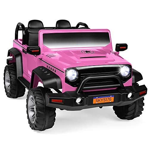 Best Choice Products Kids 12V RC 2-Seater Ride On Truck w/, LED Lights/Sounds, MP3, Pink