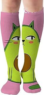 Tonesum, Estampado De Dibujos Animados Aguacate Gato Animales Comida Y Bebida Mujeres Calcetines Hasta La Rodilla Calcetines Deportivos Calcetines Deportivos 50CM