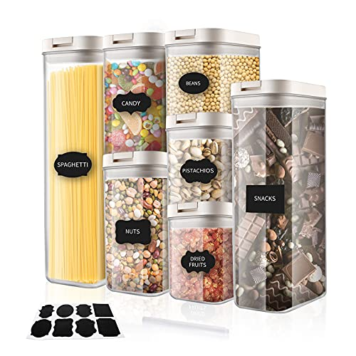 Airtight Food Storage Containers Set - 7pcs - Kitchen Pantry Organization Containers - BPA Free Cereal & Dry Food Storage Containers with Lids & Labels, Marker - for Sugar, Flour, Snack, Cereal