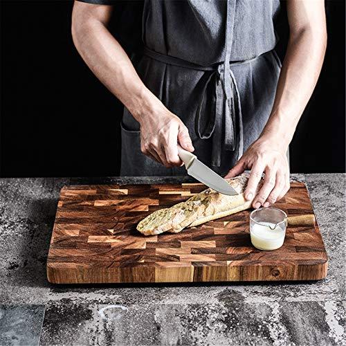LIYANG Tabla De Cortar Hogar Cocina De Madera Maciza Duradero Tabla For Cortar Madera Geométrico Cuadrado De Empalme para Carne Pan Frutas (Color : Multi-Colored, Size : 28x38cm)