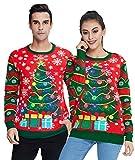 Idgreatim Jersey de Navidad unisex con luz LED en 3D, diseño navideño Red Trees XL