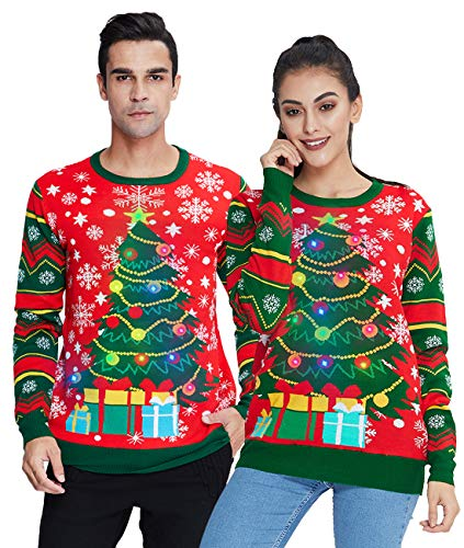 Women Men Christmas Tree Sweater Light Up Ugly Xmas Knit Pullover Novelty Long Sleeve Crewneck Sweatshirt Jumper for Merry Christmas XXL