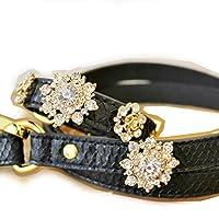 犬用 首輪 カラー&リード リーシュ セット Wooflink ウーフリンク GLAM COLLAR & LEASH SET 2 グラム 【L-ブラック】 / 小型犬 中型犬 対応可