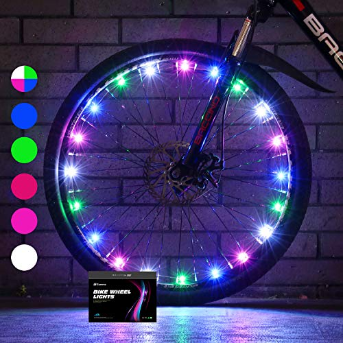 Sumree 2-Tire Pack LED Bike Wheel Lights Bike Spoke Light Super Bright Cycling Bicycle Light with Batteries Included (Rainbow)
