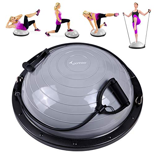 Sportneer Half Balance Ball Balance Board with Resistance Bands Balance Trainer with Pump for Core Ab Training Yoga Home Fitness Stability Workout Strength Exercise Physical Therapy & Gym…