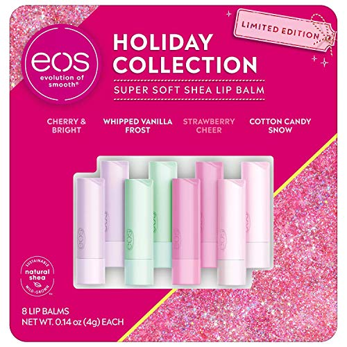 eos Holiday Collection Super Soft Shea Lip Balm Stick Limited Edition, 8 Count