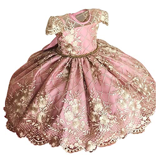 NNJXD Fancy Girls Dress New Year Party Evening Gowns Elegant Princess Dress Ball Gowns Wedding Kids Dresses for Girls Size (130) 5-6 Years Pink # 2