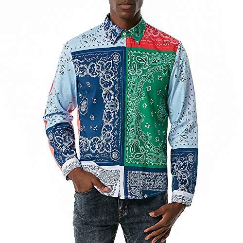 Camisa Casual cómoda de diseño Regular para Hombre, Camisa de Manga Larga con Dobladillo Irregular y Solapa con Estampado Retro clásico S
