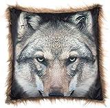 Brandsseller Tiermotiv Kissen mit Fellrand Dekokissen Kuschelkissen 45x45 cm Wolf Gelb