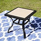 LOKATSE HOME 21' Outdoor Square Patio Dining Table Metal Steel Legs with Ceramics Top