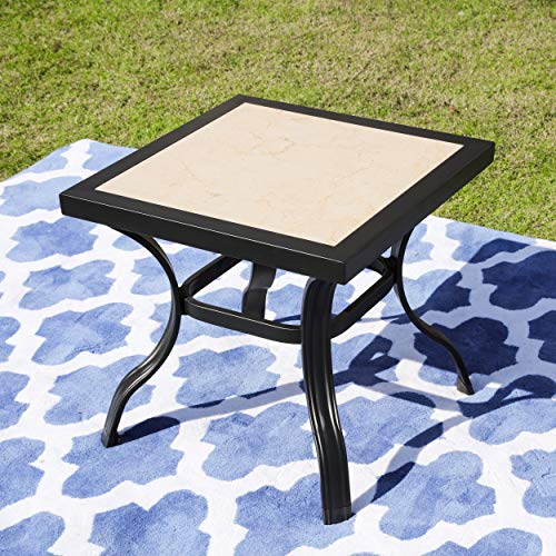 LOKATSE HOME Bistro Side End Square Metal Frame Removable Tile Top Dining Coffee Table for Garden Swimming Pool Outdoor Patio Furniture, Black