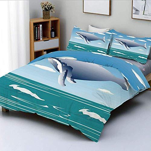 Juego de funda nórdica, Ocean Sunny Landscape con enorme ballena saltarina en el aire Dibujos animados como diseño artístico Juego de cama decorativo de 3 piezas con 2 fundas de almohada, Azul, El mej