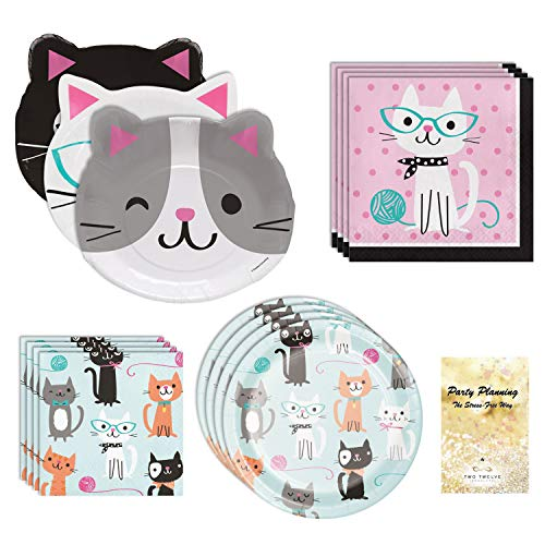 Cat Birthday Party Supplies, Kitten and Kitty Design, Cat Lover, 16 Guests, 65 Pieces, Disposable Paper Dinnerware, Plate and Napkin Set