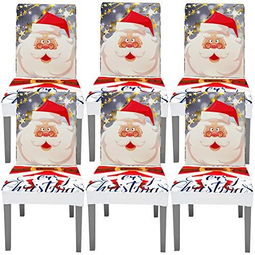 YISUN Universal Stretch Stuhlhussen 4er 6er Set Stuhlbezug für Stuhl Esszimmer (6er Set, Weihnachten A)