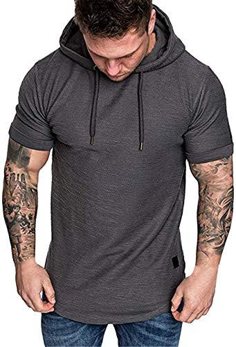 Camiseta de Manga Corta con Capucha para Hombre Deporte Color Sólido T-Shirt Verano Sport Running Fitness