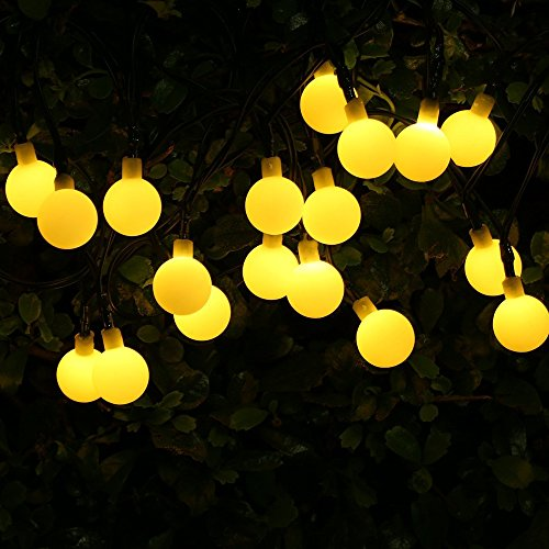 KEEDA Guirlande Solaire 50LED Boules String Lights Guirlande Lumineuse Extérieure Noël d'éclairage pour décorer Le Jardin,Patio,Party (Blanc Chaud)