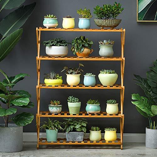 Cretee Moso-Bambus Faltbare 5 Tier Schuhregal Regal für 16-25 Paar Schuhe Veranstalter Blumenregal Pflanzenregal 80 * 73 * 31cm
