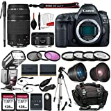 Canon EOS 5D Mark IV DSLR Full Frame Camera with EF 50mm F1.8 STM Lens + EF 75-300mm F4-5.6 III Lens Kit Prime Travel Bundle