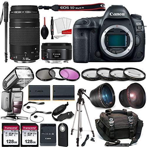 Canon EOS 5D Mark IV DSLR Full Frame Camera with EF 50mm F1.8 STM Lens + EF 75-300mm F4-5.6 III Lens Kit Prime Travel Bundle