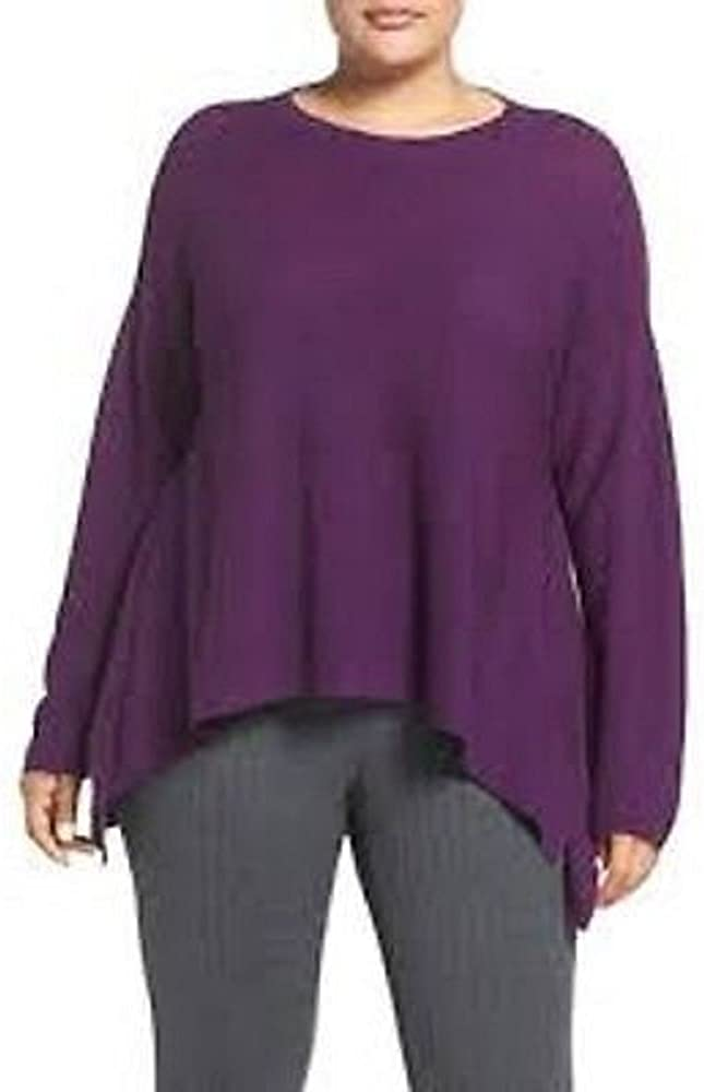 Eileen Fisher Plus Fine Merino Wool Round Neck Top Sweater 2X Raisn MSRP $258