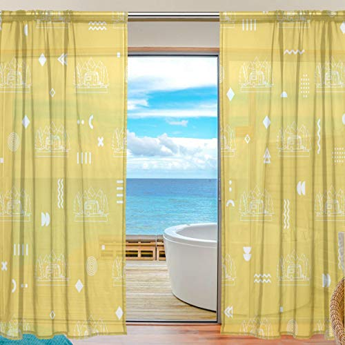 """HCMusic Airstream Campers Sheer Curtains 84 Inch Length Rod Pocket Window Treatment Drapes Voile Panels for Living Room/Bedroom, 2 Panels 54""""x 84"""""""