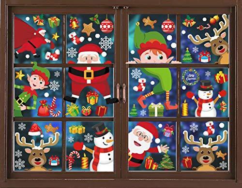 12 Sheet Christmas Window Clings Snowflake Decorations - Christmas Window Clings Snowflake Winter Wonderland Xmas Party Supplies - Santa Claus Elf Reindeer Peeking Decals 90pcs