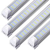 8FT LED Tube Light Fixture - 120W, 12000LM, 6000K Cool White Clear Cover,Triple Row, Fluorescent Tube Light Replacement, T8 Intergrated Shop Light Bulbs for Garage, Ceiling, Warehouse,(Pack of 20)