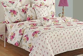 Swayam Zinnia Collection Queen Bedsheet Set, Multi-Colour, 240 x 270 cm, QF15001, Set of 3
