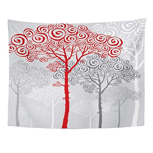 Elinna Decor Wall Tapestry Red Christmas of Tree Pine Silhouette For Xmas Luxury Nouveau Abstract 60 X 50 Inches Wall Hanging Picnic For Bedroom Living Room Dorm 80x60in(150x200in)