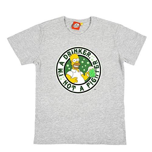 Simpsons - Camiseta de manga corta para hombre, diseño de cerveza Duff, corte recto. Color gris jaspeado/Homer Simpson. XL