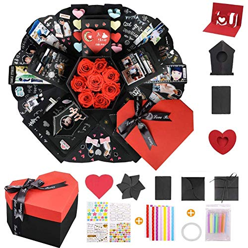 Koogel Explosion Box Set, Finished Product Heart-Shaped Explosion Gift Box DIY Handmade Photo Album...
