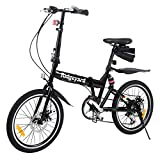 MuGuang Bicicleta Plegable, 20 Pulgadas, 7 velocidades, con luz LED y batería, Bolsa para Asiento y Campana para Bicicleta, Color Negro