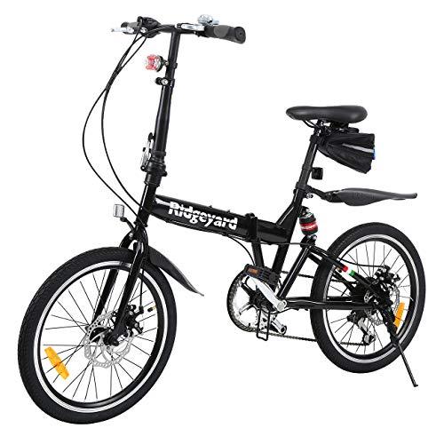 MuGuang - Bicicletta Pieghevole, 20 Pollici, 7 Marce, con Luce a LED a Batteria, Custodia e Campanello per Bicicletta (Nero)