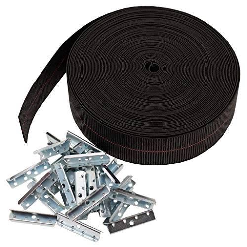 House2Home Replacement Elastic Webbing Kit to Repair Sagging Couch, Chair, Lawn,and Patio Furniture, Includes Installation Instructions, 2 Inch Wide x 60 Ft. Long Strapping and Metal Webbing Clips