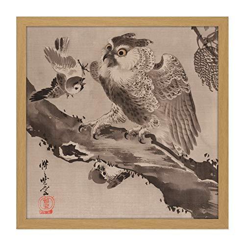 Kyosai Uil Gespot Kleine Vogels Japan Schilderen Vierkant Omlijst Muur Art 16X16 In