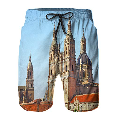 Hombres Verano Secado rápido Pantalones Cortos Playa campanarios Nueva Catedral clerecia Iglesia Salamanca Trajes de baño Correr Surf Deportes-M